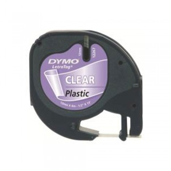 Dymo Letratag Label Printer Plastic Tape 12mm x 4m Clear
