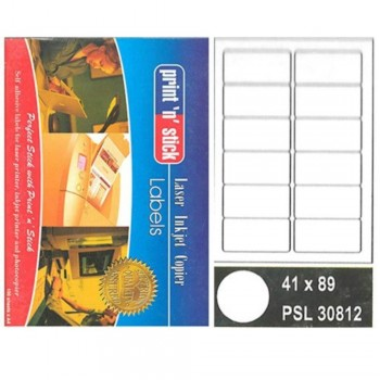 Print n Stick A4 Laser Inkjet Label Stickers 12pcs - 41mm x 89mm, 100sheets (Item No: R01-11) A1R3B195