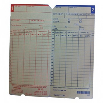 WS Time Card For Electronic Time Recorder