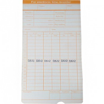 White Time Card For Electronic Time Recorder
